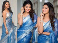 athulya ravi blue linen tissue saree