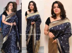charmme kaur blue banarasi silk saree at puri jagannadh borthday