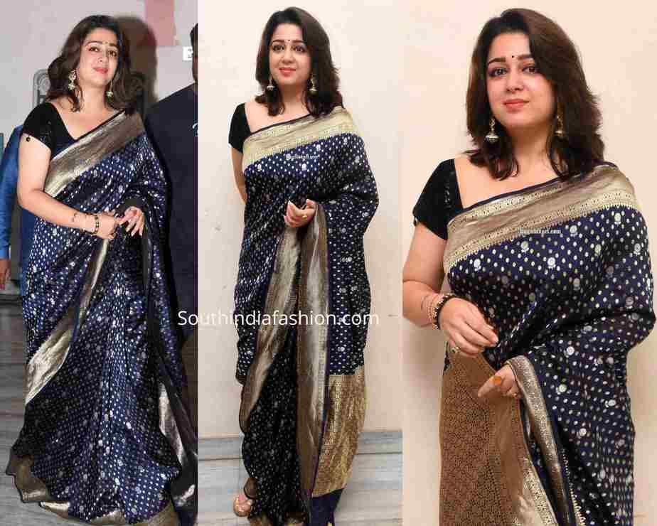 charmme kaur blue banarasi silk saree at puri jagannadh borthday