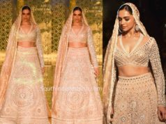 deepika padukone abu jani sandeep khosla lehenga at ajsk 33 years fashion show