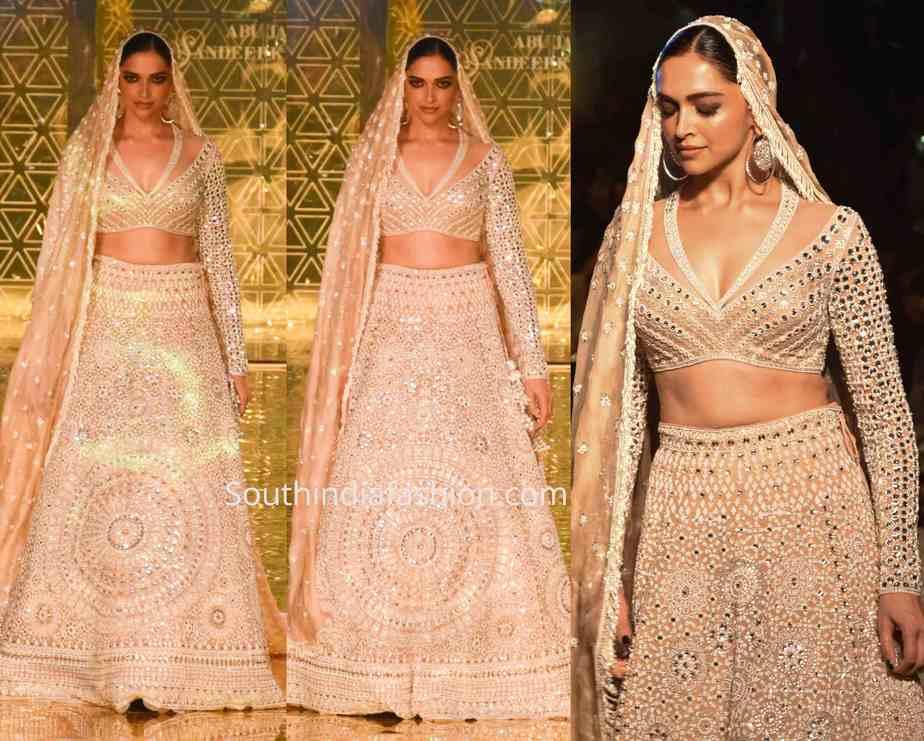 deepika padukone abu jani sandeep khosla lehenga at ajsk 33 years fashion show