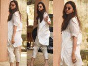 deepika padukone casual look white kurta pants