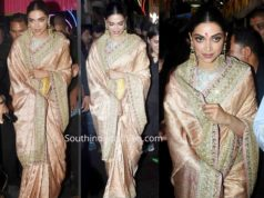 deepika padukone silk saree at ganesh pandal