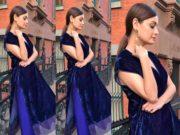 dia mirza blue velvet kurta palazzo payal khandwala