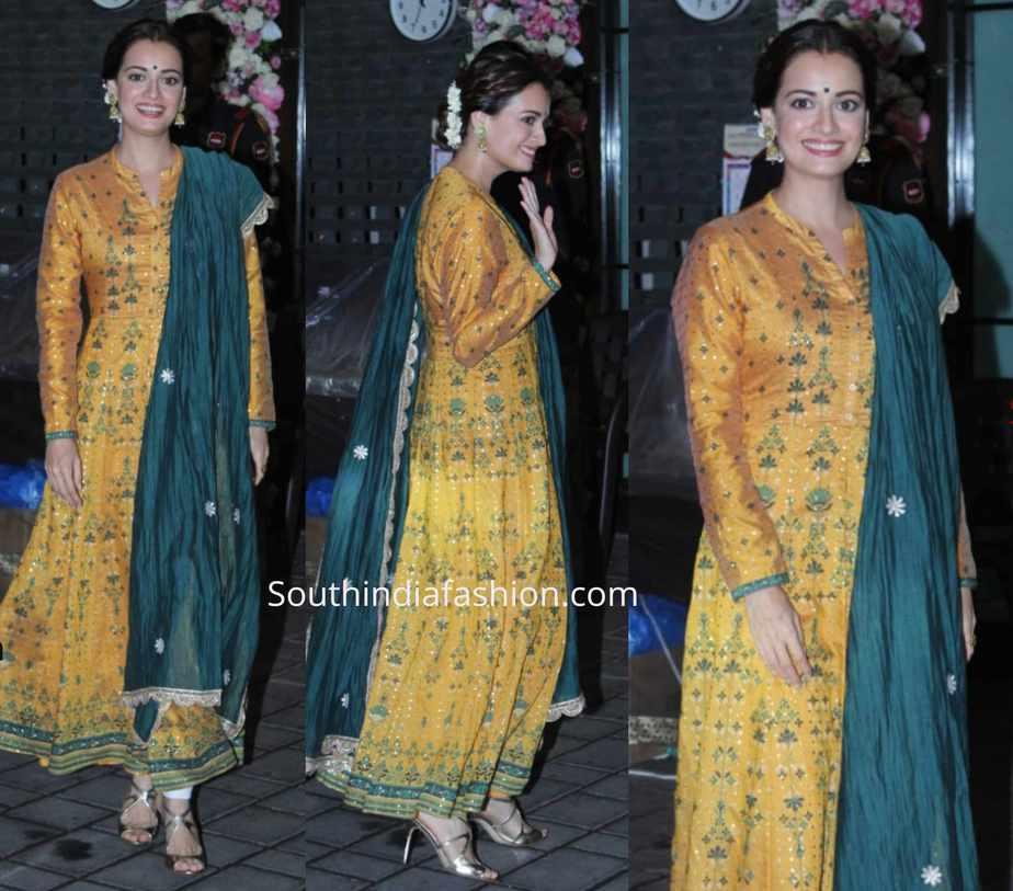 dia mirza yellow salwar kameez at arpita khan ganapati celebrations