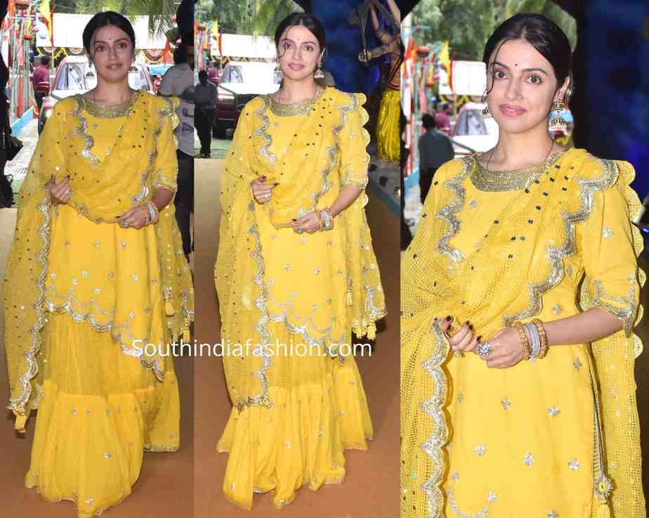 divya khosla kumar yellow sharara ganesh puja 2019