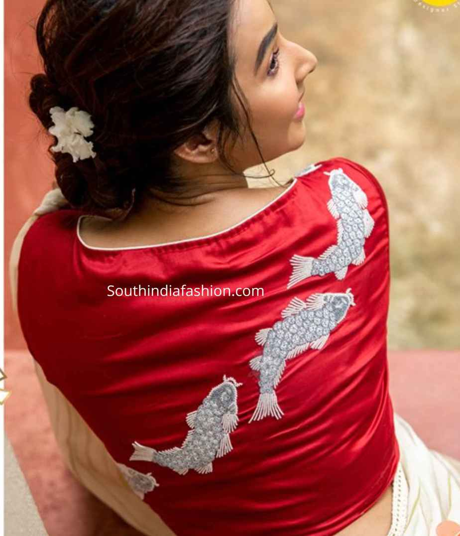 fish embroidered blouse design sayanti ghosh