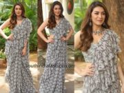 hansika in grey printed ruffle saree at tenali ramakrishna pre release event (1)