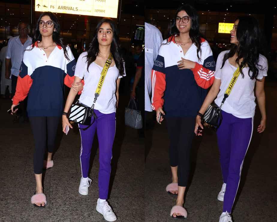 janhvi kapoor and khushi kapoor at airport