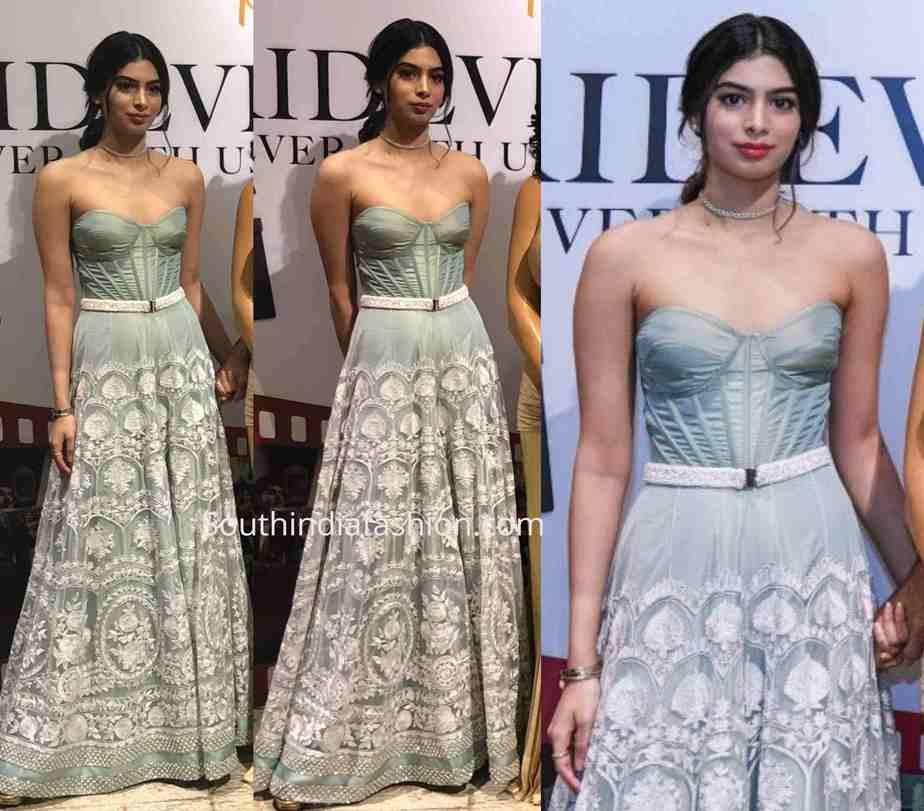 khushi kapoor dress at sridevi wax statue launch