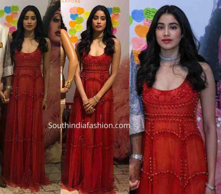 janhvi kapoor red dress at sridevi wax statue launch