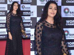 bhumika chawla black gown pv sindhu felicitaion casual kurta palazzo