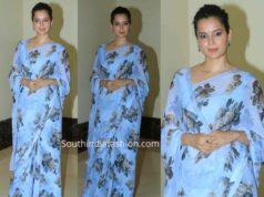 kangana blue floral chiffon saree