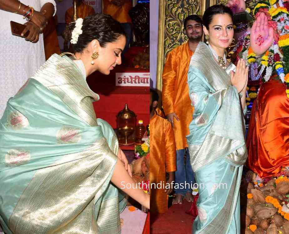 kangana ranaut mint blue banarasi silk saree andheri cha raja ganesh temple (1)