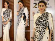 karisma kapoor black and white half and half saree bhamla foundation (2)