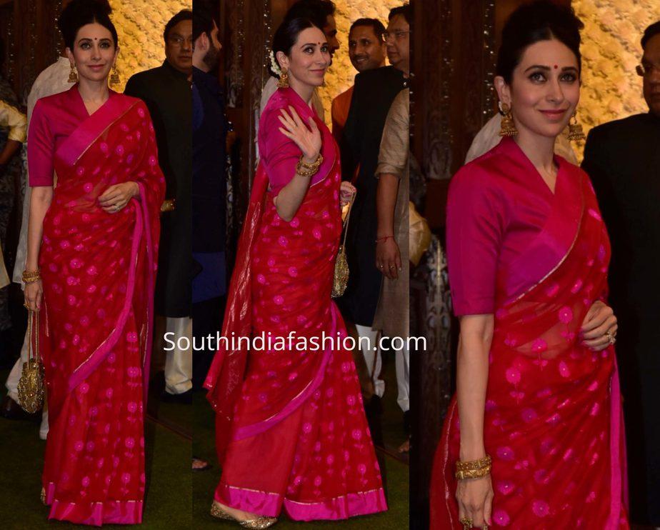 karisma kapoor pink saree at ambani ganesh chaturthi 2019 (1)