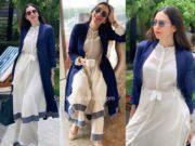 karisma kapoor white and blue indo western kurta set