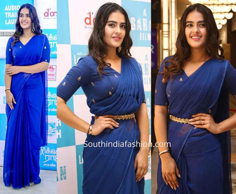 kavya thapar blue saree at market raja mbbs audio launch
