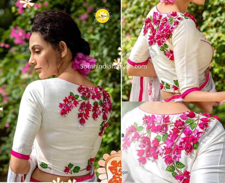 latest 3d floral embroidered blouse designs 2019