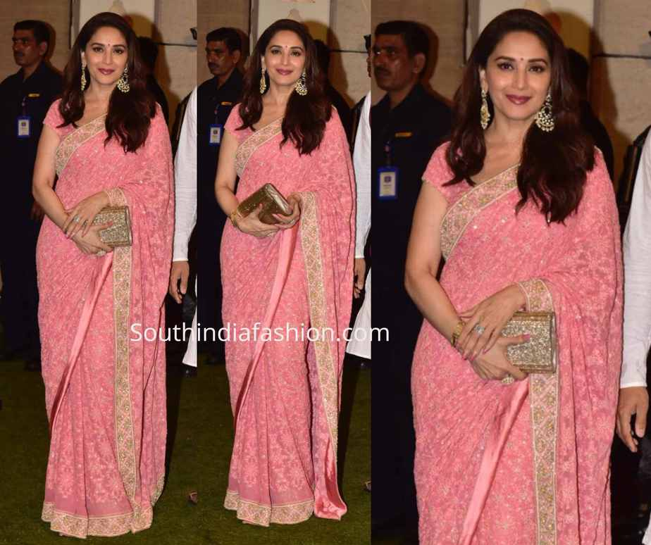 madhuri dixit pink saree at ambani ganesh chaturthi celebrations (1)