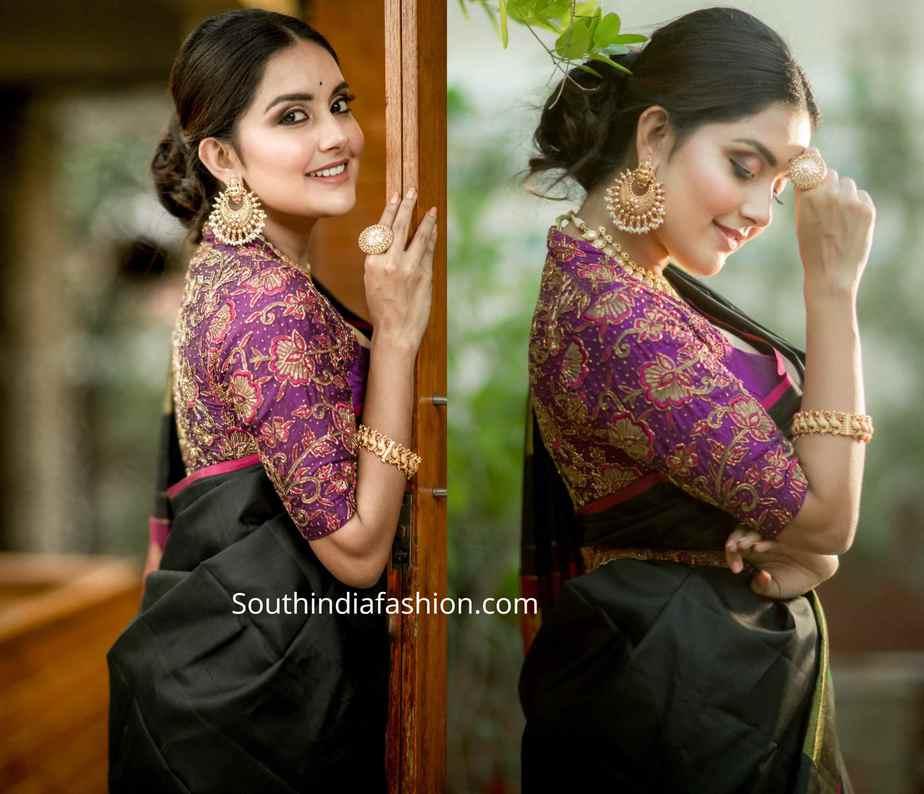 mahima nambiar traditional silk saree (1)