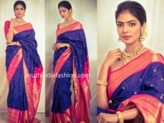 malavika mohanan blue silk saree onam celebrations