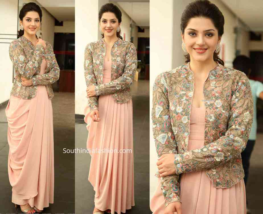 mehreen draped dress with jacket chankaya promotions