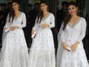 mouni roy white anarkali at arpita khan ganesh chaturthi puja