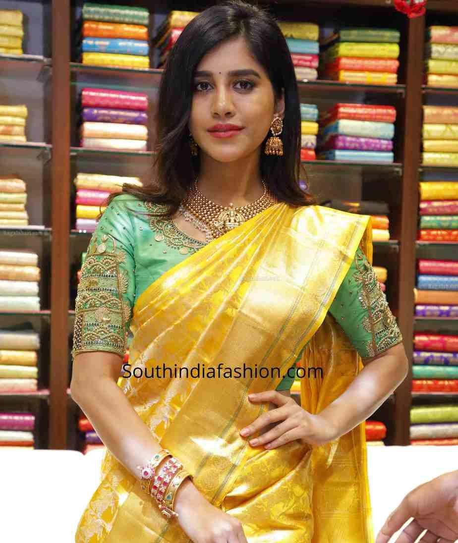 nabha natesh yellow kanjivaram saree cmr shopping mall (1)