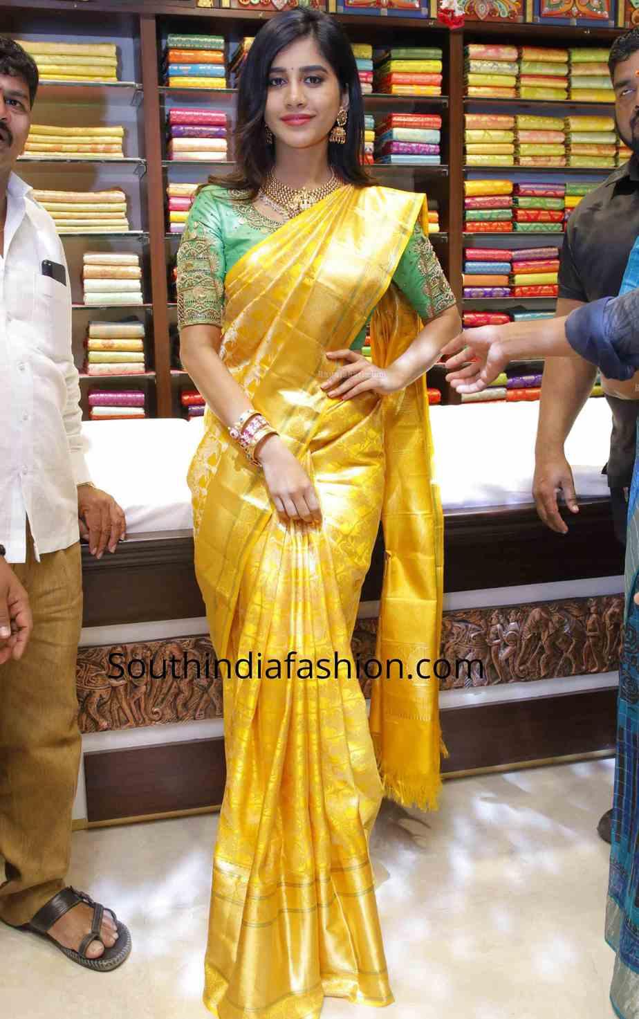 nabha natesh yellow kanjivaram saree cmr shopping mall