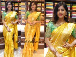 nabha natesh yellow pattu saree cmr shopping mall