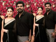 nayanthara black saree at vighnesh shivan birthday