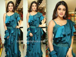 nidhhi agerwal blue ruffle saree at klm fashion mall launch
