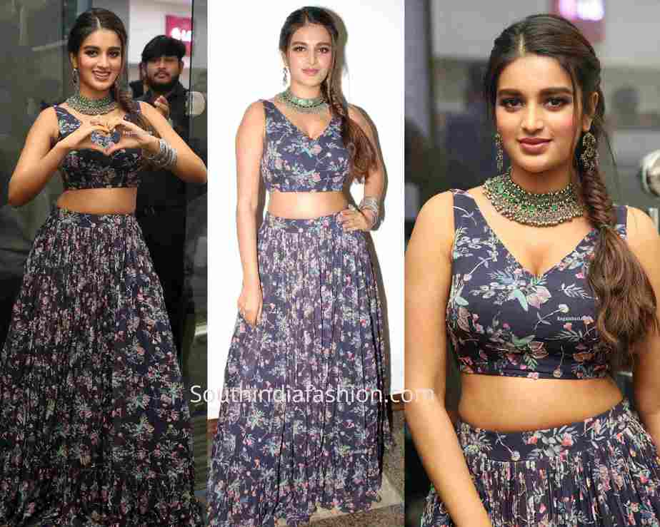 nidhhi agerwal blue skirt crop top bajaj electronics event