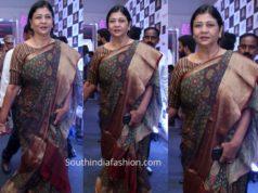 nirmala manchu kalamkari kanchi border saree at dadasaheb phalke awards