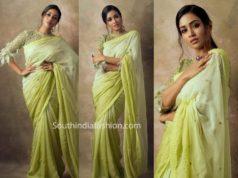 nivetha pethuraj green saree