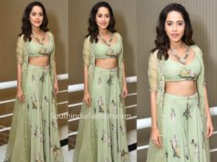 nushrat barucha floral lehenga dream girl trailer launch