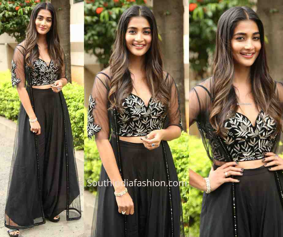 pooja hegde black dress at valmiki song launch
