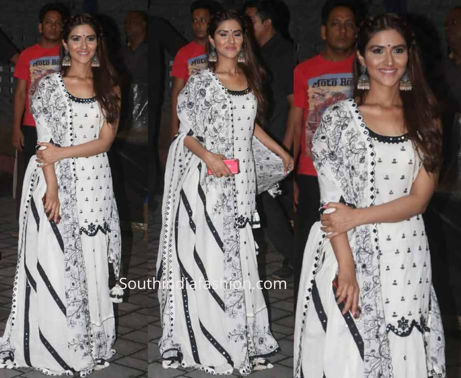 pranutan bahl black and white sharara suit at arpita khan ganesh puja