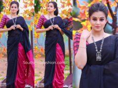priya mani black and pink saree dhee jodi