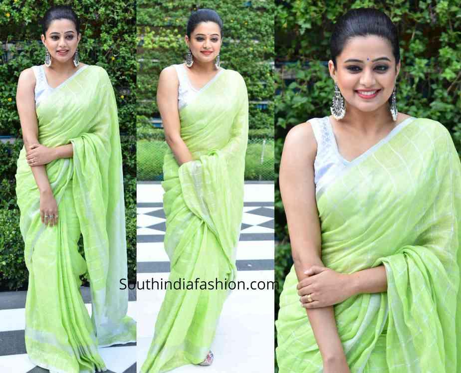 priya mani green linen saree (1)
