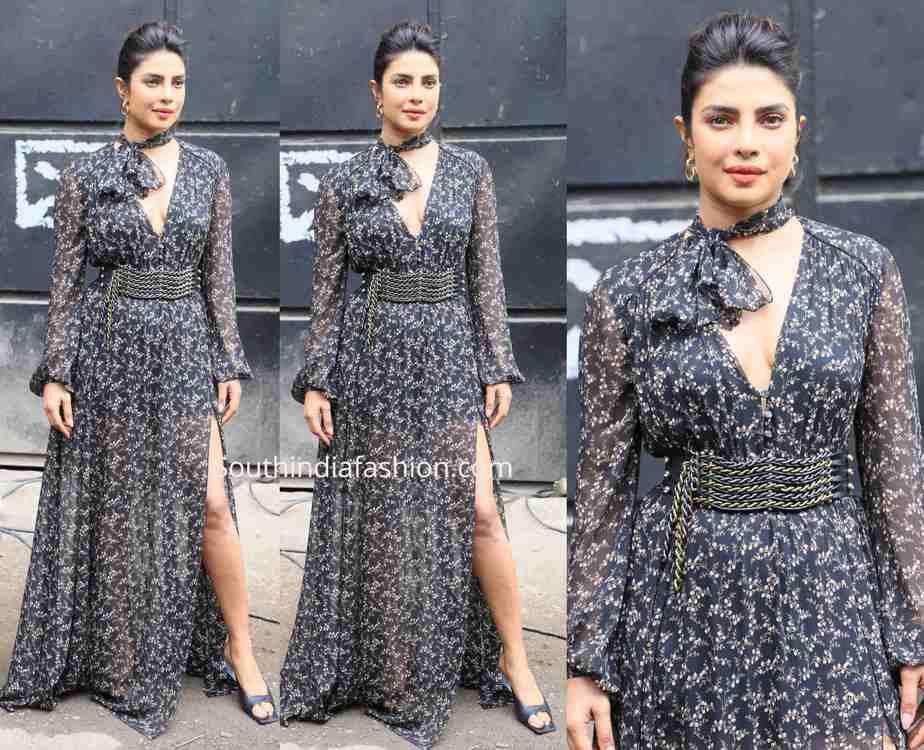 priyanka chopra black maxi dress sky is pink promotions
