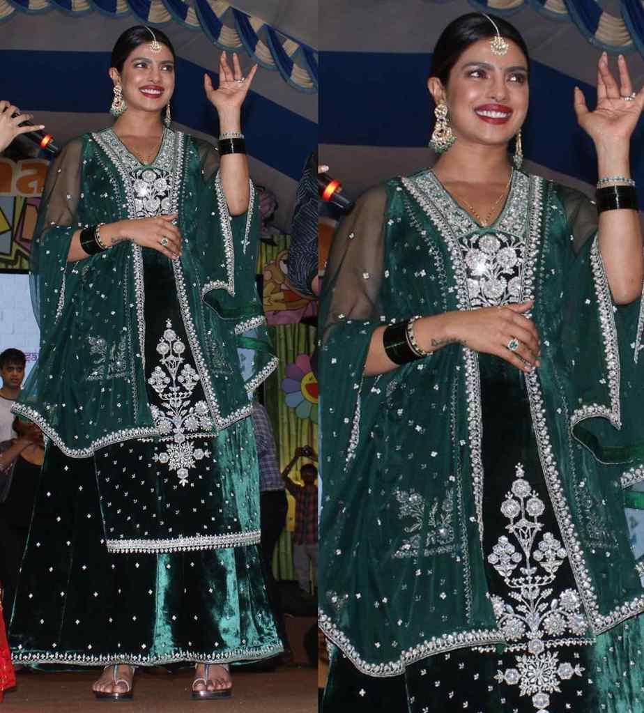 priyanka chopra in green velvet lehenga by anita dongre