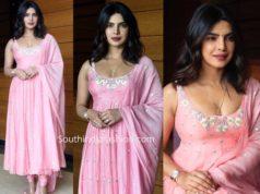 priyanka chopra pink salwar kameez sky is pink promotions
