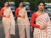 priyanka chopra polka dot saree sky is pink promotions (1)