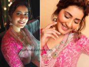 raashi khanna blue organza saree with pink blouse