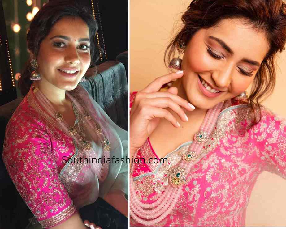 raashi khanna blue organza saree with pink blouse