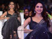 rakul preet singh black saree at cinemahotsavam (1)