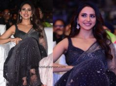rakul preet singh black saree at cinemahotsavam (1)