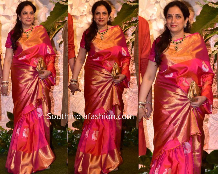 rashmi thackeray pink kanjeevaram silk saree at ambani ganesh celebrations